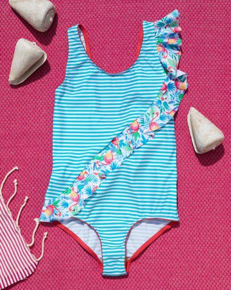 Badeanzug mit Rüschen, besonderer Badeanzug mit Volant, recycelt mit UV Schutz