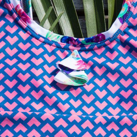 Badeanzug mit UV Schutz, Recyclingmaterial, handgefertigt